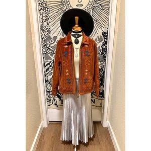 Stylish Vintage bohemian velvet embroidery jacket